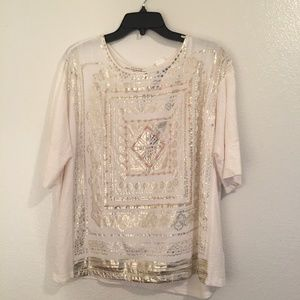 Chicos gold and cream beaded soft cotton shirt 3
